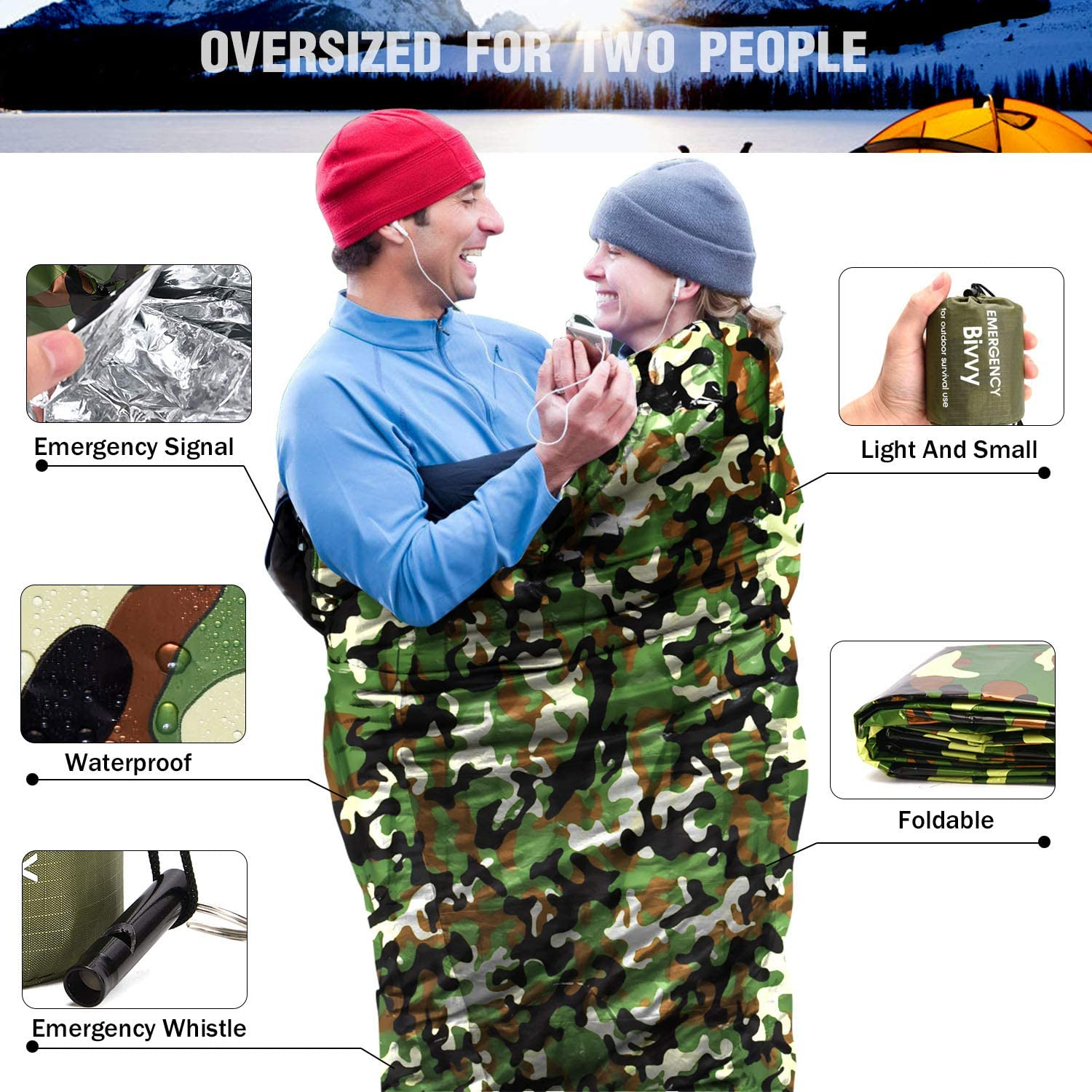 TOBWOLF Emergency Sleeping Bag Traveling Compact Thermal Mylar Rescue Blanket for Camping 61x84 // 155x213cm Lightweight Windproof Survival Bivy Sack with 1 Whistle Camouflage Color Hiking