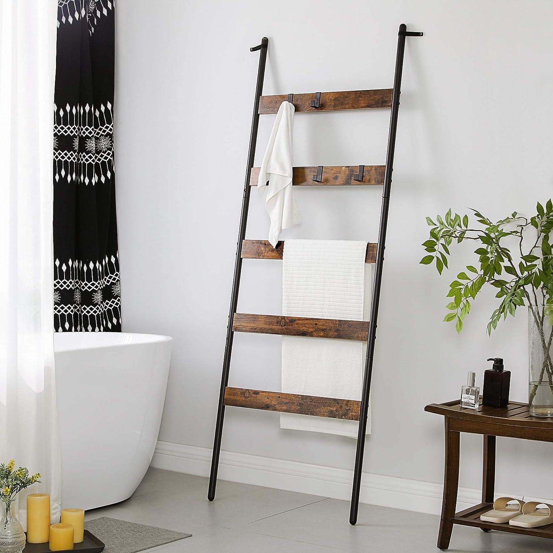 VASAGLE Escalera para Toallas, Escalera Decorativa, 60 cm de Ancho, Marco de Acero, para Mantas, Toallas, Bufandas, Estilo Industrial, Marrón Rústico y Negro LLS011B01: Amazon.es: Hogar