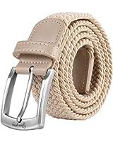 Cinture uomo, Cintura elastica intrecciata con fibbia coperta, per jeans, cinture per pantaloni