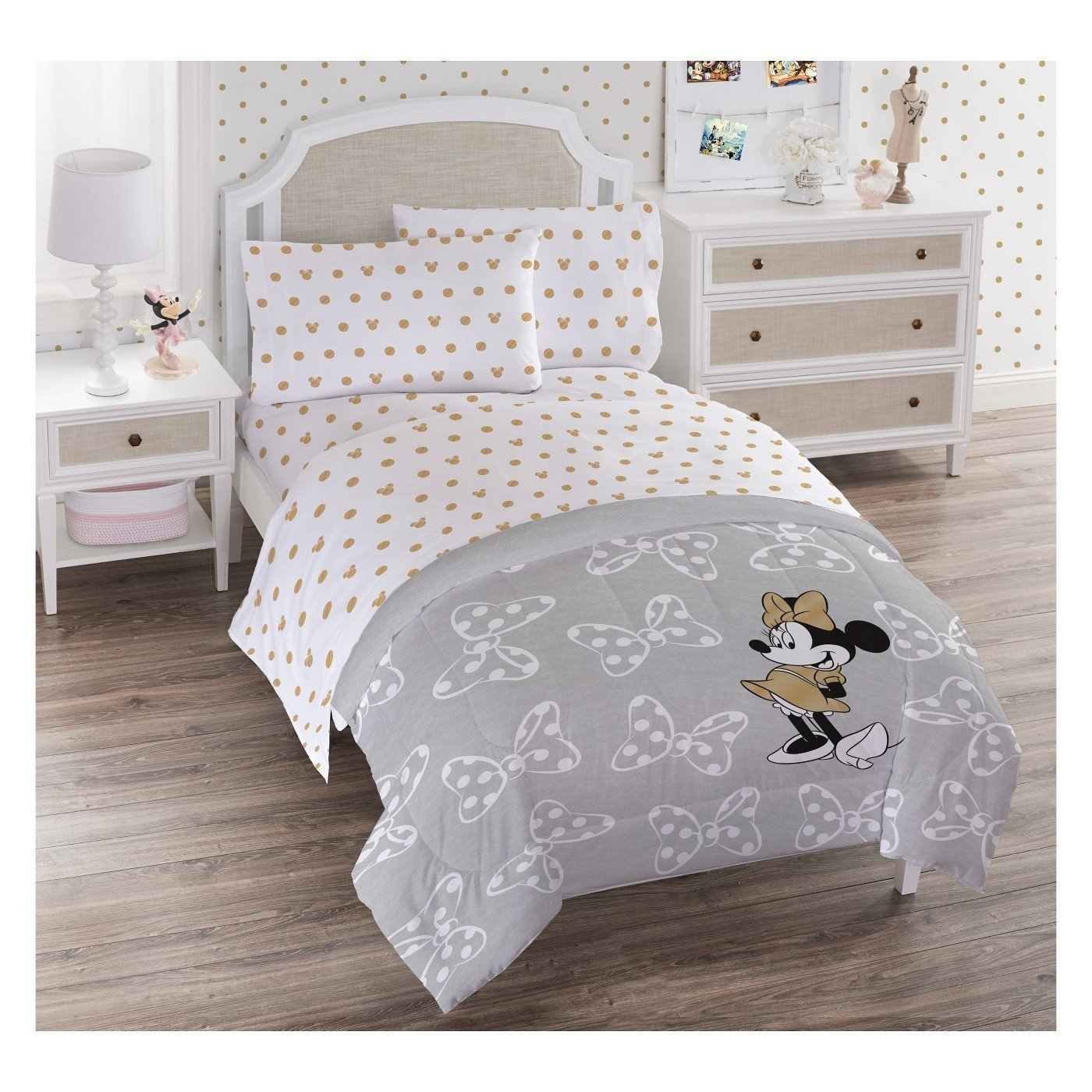 Disney Minnie Mouse Twin Quilt Set Gray/White