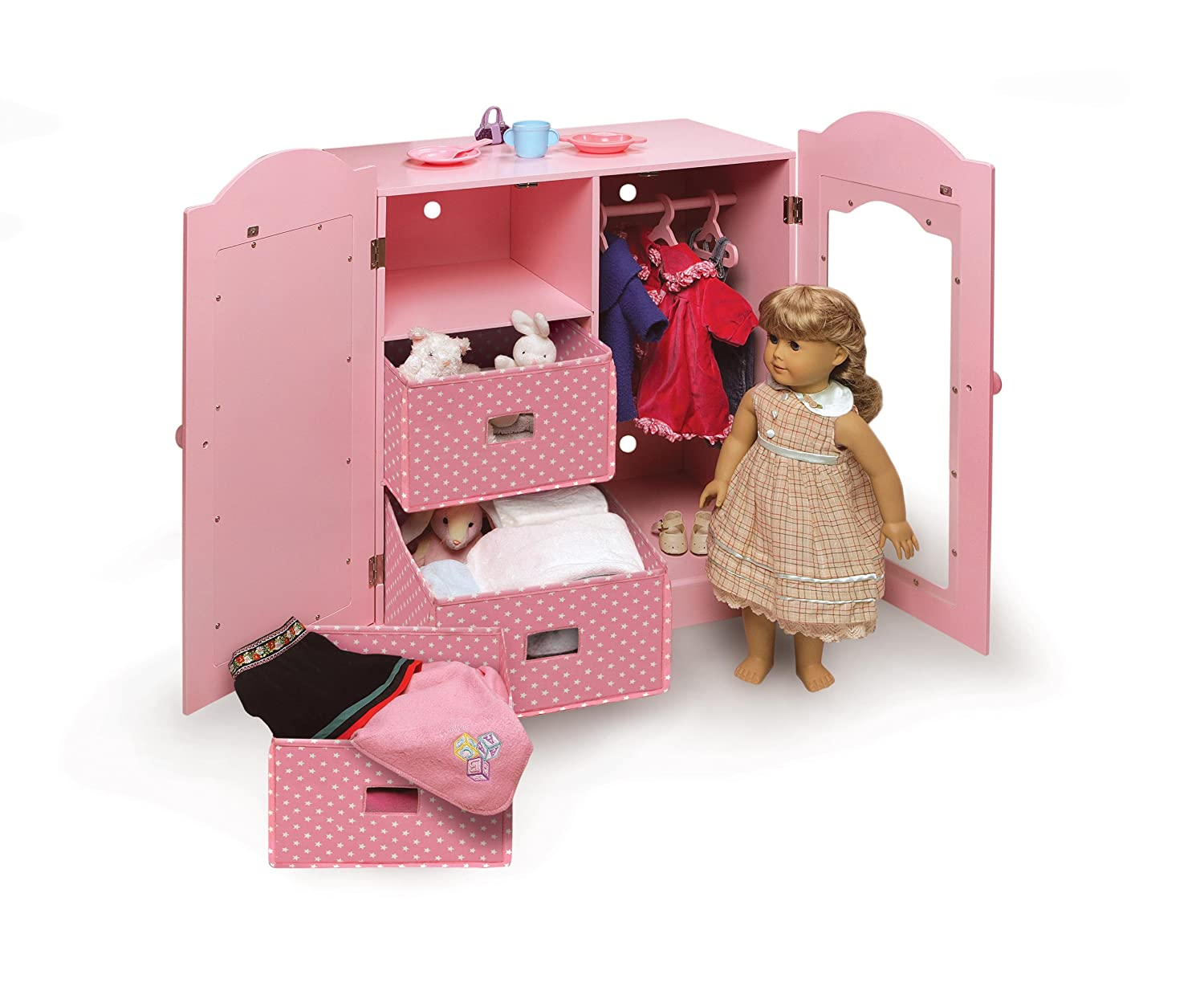 Attirant Amazon.com: Badger Basket Mirrored Doll Armoire With 3 Baskets And 3  Hangers   Pink (fits American Girl Dolls): Toys U0026 Games