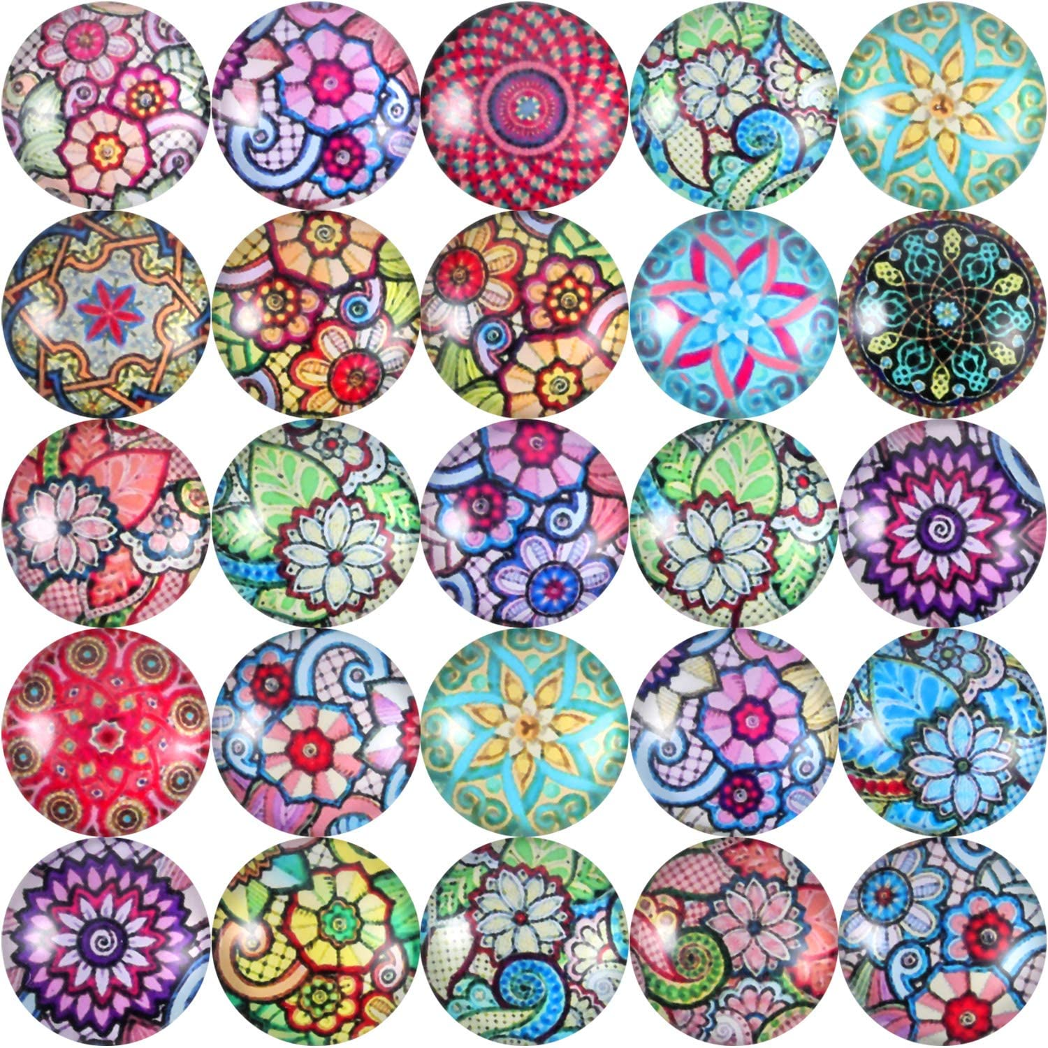 Jewelry Making Kit 0.47 in, 200 Pieces Glass Dome Cabochon Mosaic Tiles