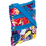 Womens Crossbody Swingpack Bag (Multicolor Butterfly W/ Blue Trim)