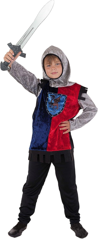 Disfraz de caballero medieval para niño; colores azul, negro y ...