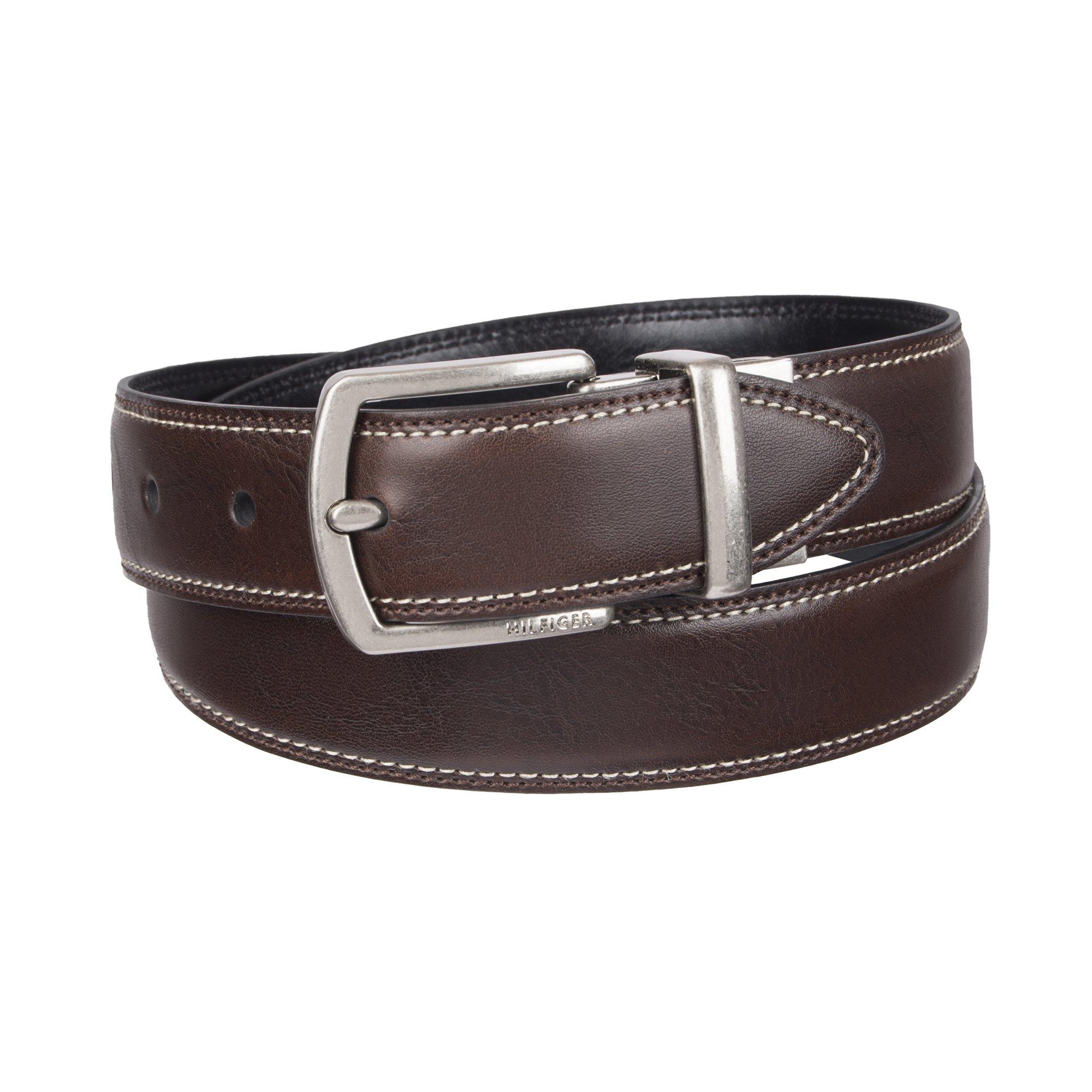 Tommy Hilfiger Big Boys' Reversible Dress Belt, Brown/Black, Medium
