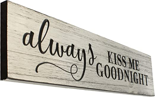 LARGE SHABBY ALWAYS KISS ME GOODNIGHT Shappy CHIC  WOOD SIGN Hand Painted
