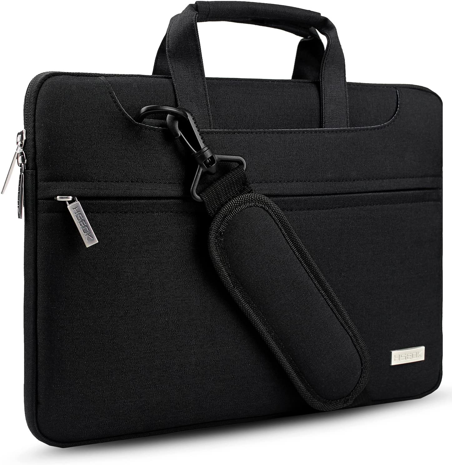 "Hseok Laptop Shoulder Bag 13 13.3 13.5 Inch Briefcase, Compatible 13.3 MacBook Air/Pro, XPS 13, Surface Book 13.5"" Spill-Resistant Handbag with Shoulder Strap for Most 13""-13.5"" Notebook, Black"