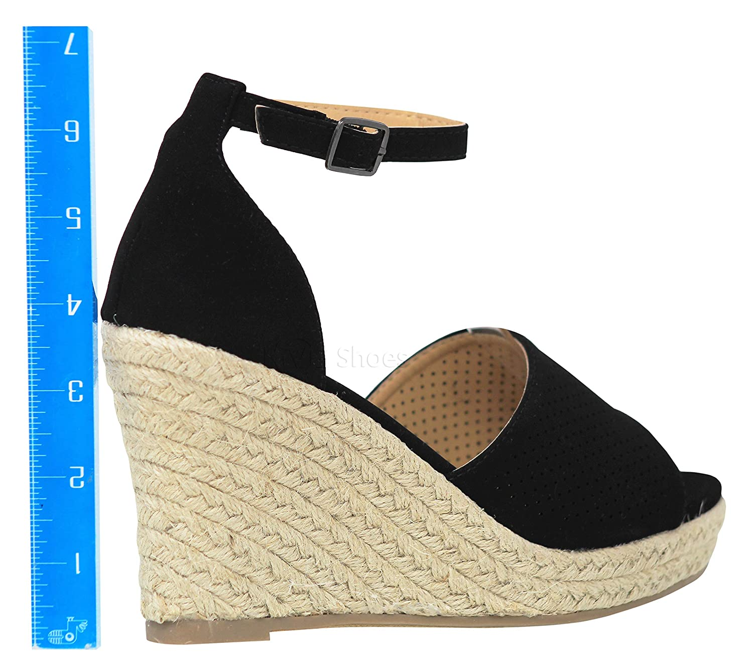 059a218a1b4 Amazon.com  MVE Shoes Womens Comfortable Open Toe Adjustable Ankle Strap  Wedge  Shoes