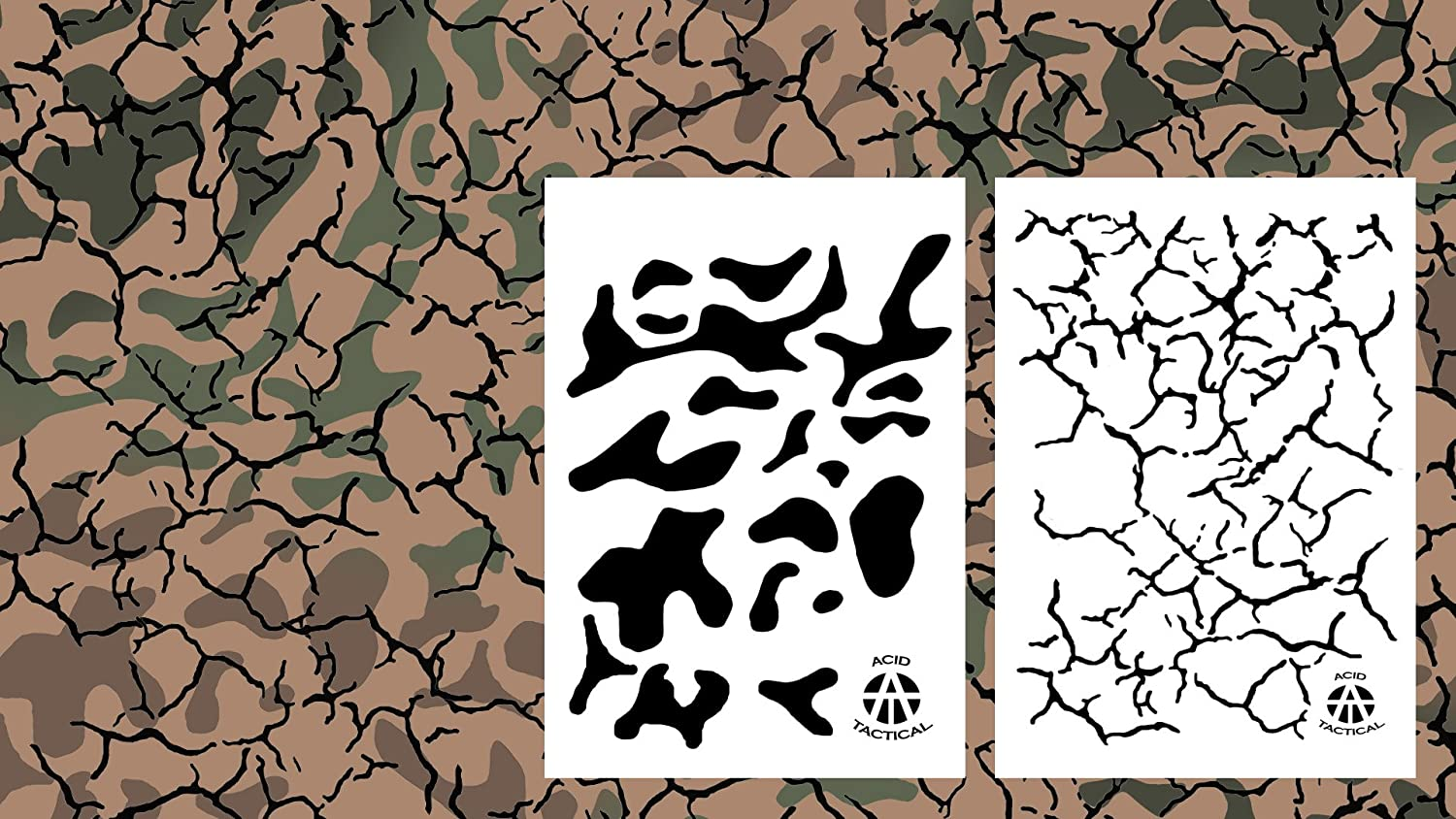 Acid Tactical/® 10/ design/  /  erba, corteccia, digitale, Multicam, felce, Jag, Hexacam, Cracked Earth, quercia, grano / 23/ x 35/ cm camouflage vinile stencil aerografo vernice spray/