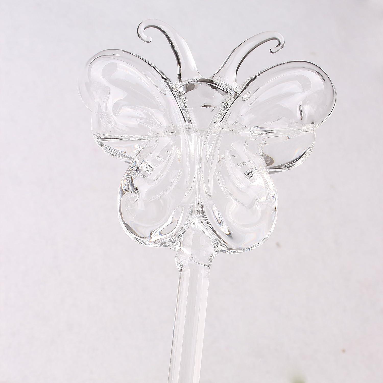 Dulinlan Set of 2 Plant Self Watering Globe Plant Nurse Water Bulbs Butterfly Shape Design Hand Blown Clear Glass