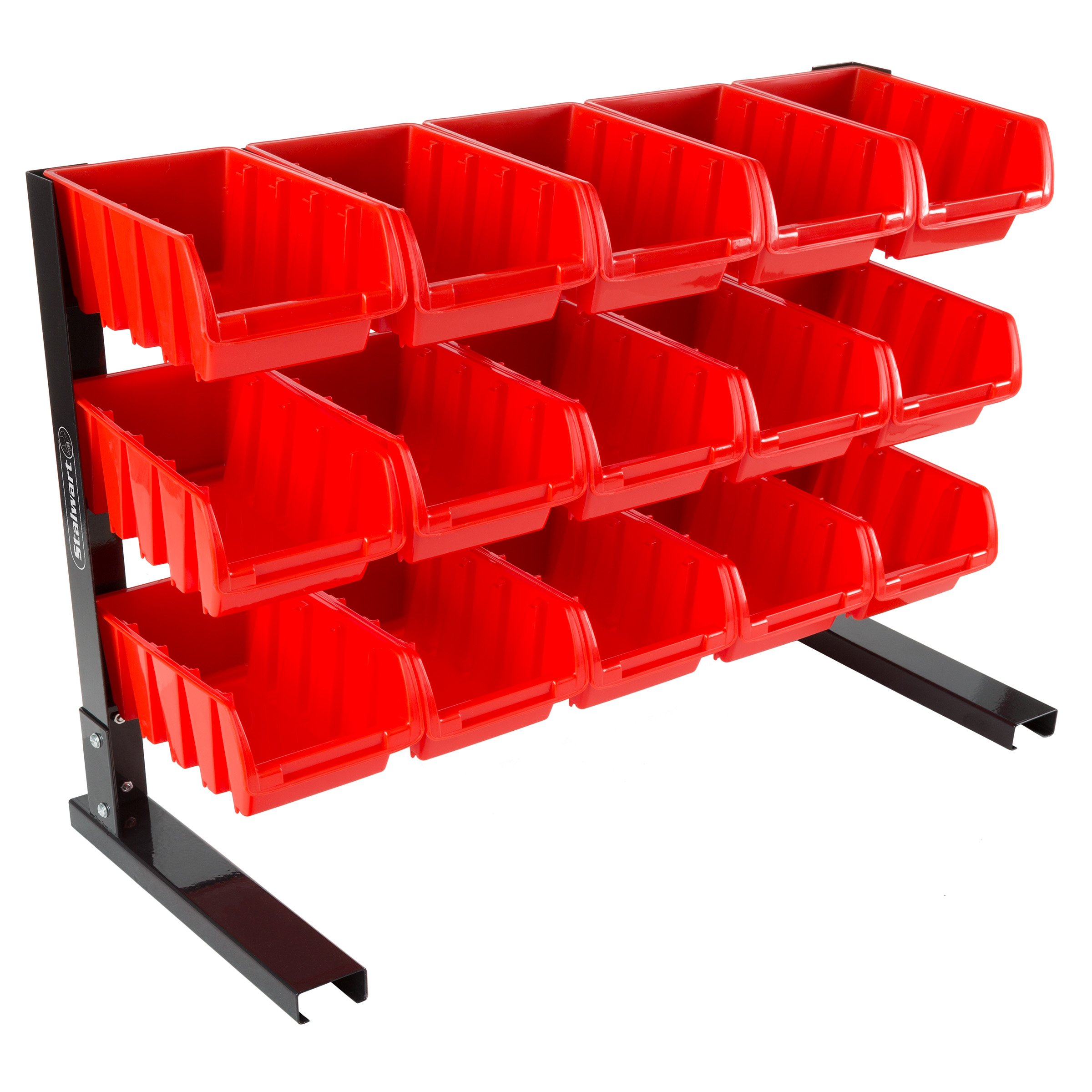 Tool Storage Shelf- Garage, Shed or Work Shop Organization-Wall Mountable Organizer Rack Has 61 Slots, 4 Hooks, and 2 Storage Compartments by Stalwart