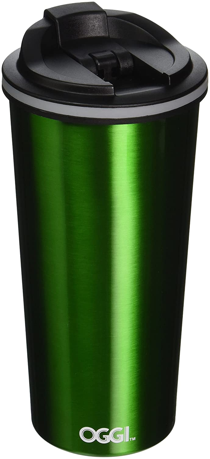 Oggi 8063.11 Double Wall Stainless Steel Travel Mug with Stainless Steel Liner and Flip Open Top, 0.5 L/16 oz., Green by Oggi B016P8NR9G グリーン グリーン