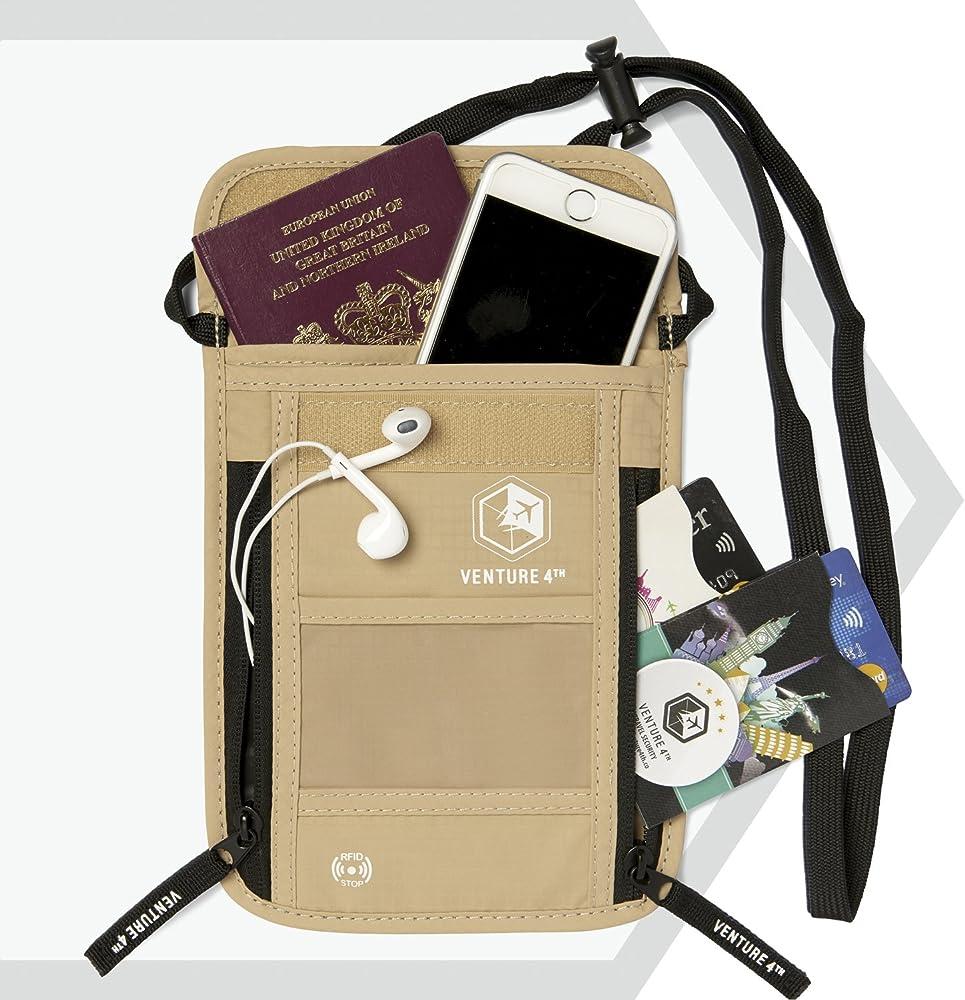 2 Pk Travel Pouch Compact Security//Hidden Money Belt with 3 Pcs Travel Sleep Set