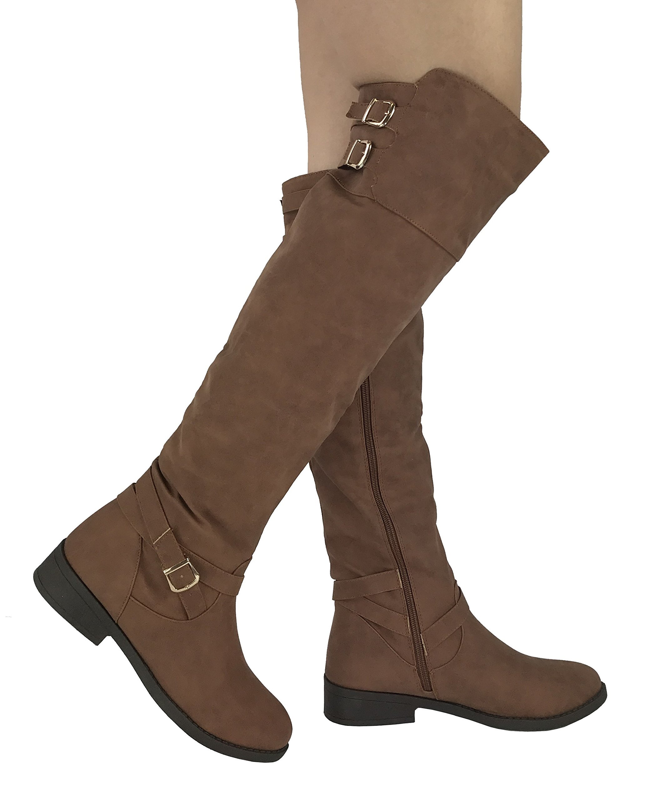 Wells Collection Womens Fiorina Over The Knee High Tall Riding Boots Zipper, Brown, 10