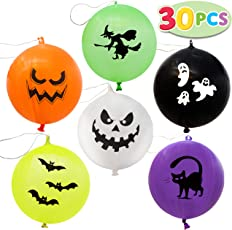 30 Pieces Halloween Mega Punch Balloons for Halloween Punching Balloon Party Favor Supplies Decorations, Prize Punch Game Rewards, Trick or Treat Toys, School Classroom Game, Kids Giveaway Goodie