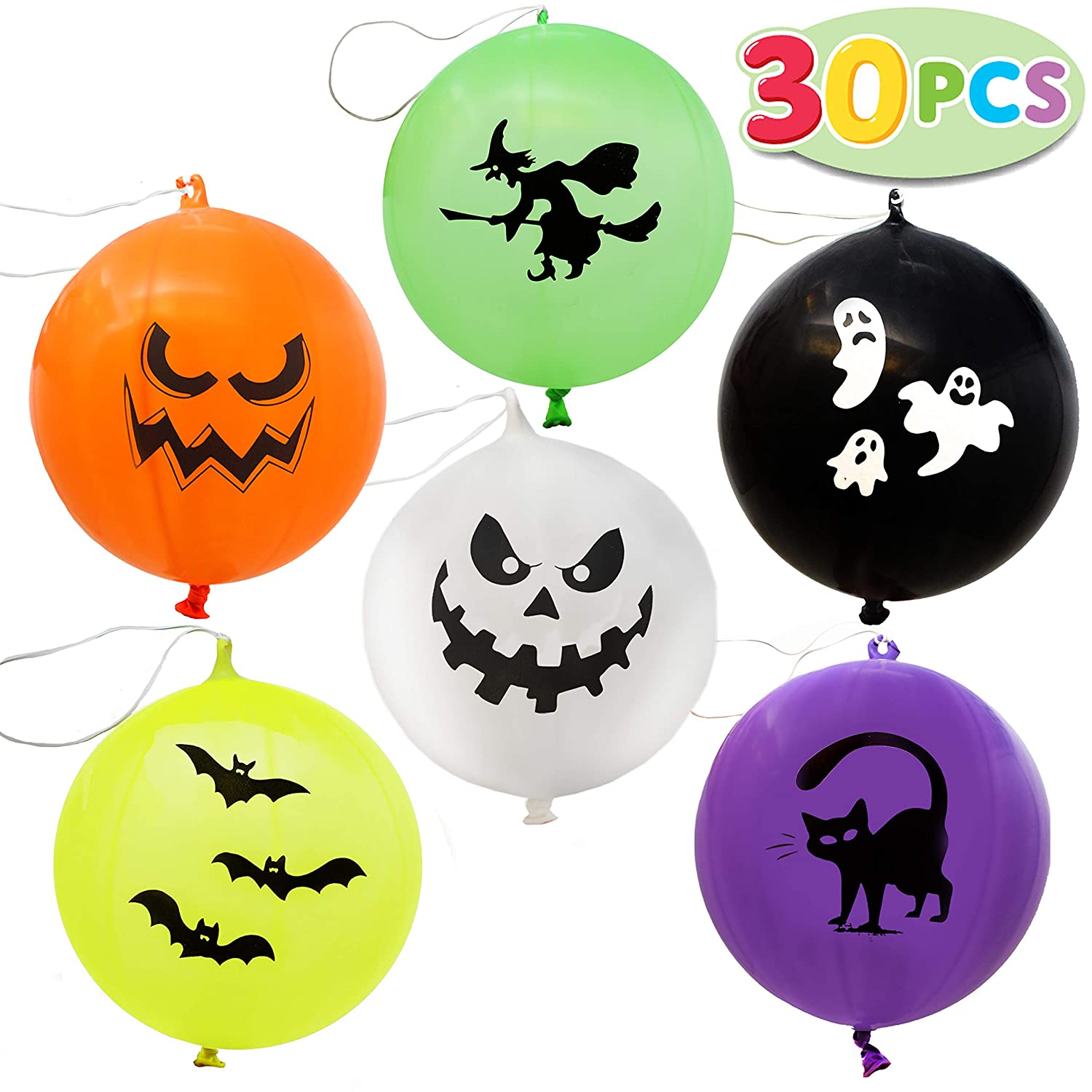 30 Pieces Halloween Mega Punch Balloons for Halloween Punching Balloon Party Favor Supplies Decorations, Prize Punch Game Rewards, Trick or Treat Toys, School Classroom Game, Kids Giveaway Goodie Joyin Inc