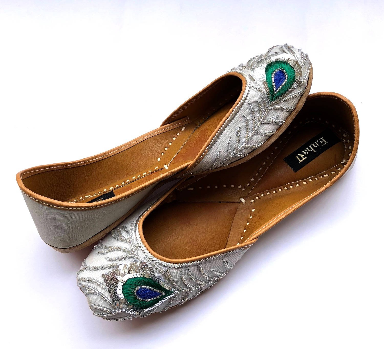 63dca00e228f6 The Silver Peacock Wedding Shoes by Enhara, Silver Bridal Shoes ...