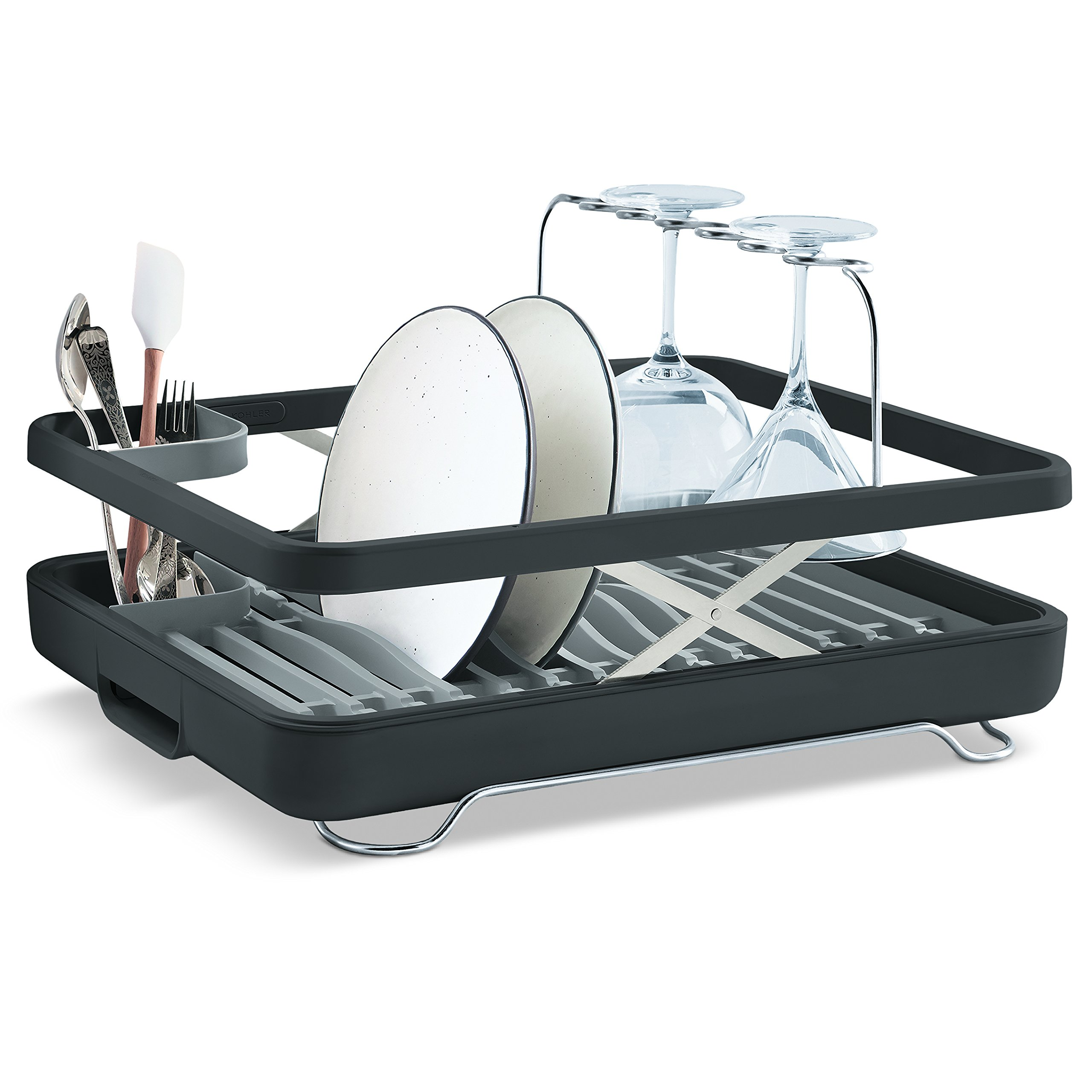 KOHLER Large Collapsible & Storable Dish Drying Rack with Wine Glass Holder and Collapsible Utensil Band. Even Made to Hold Pots and Pans, Charcoal
