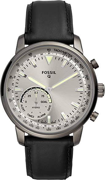 Fossil Mens Hybrid Smartwatch Stainless Steel Watch with Leather Strap, Black, 22 (Model: FTW1171)