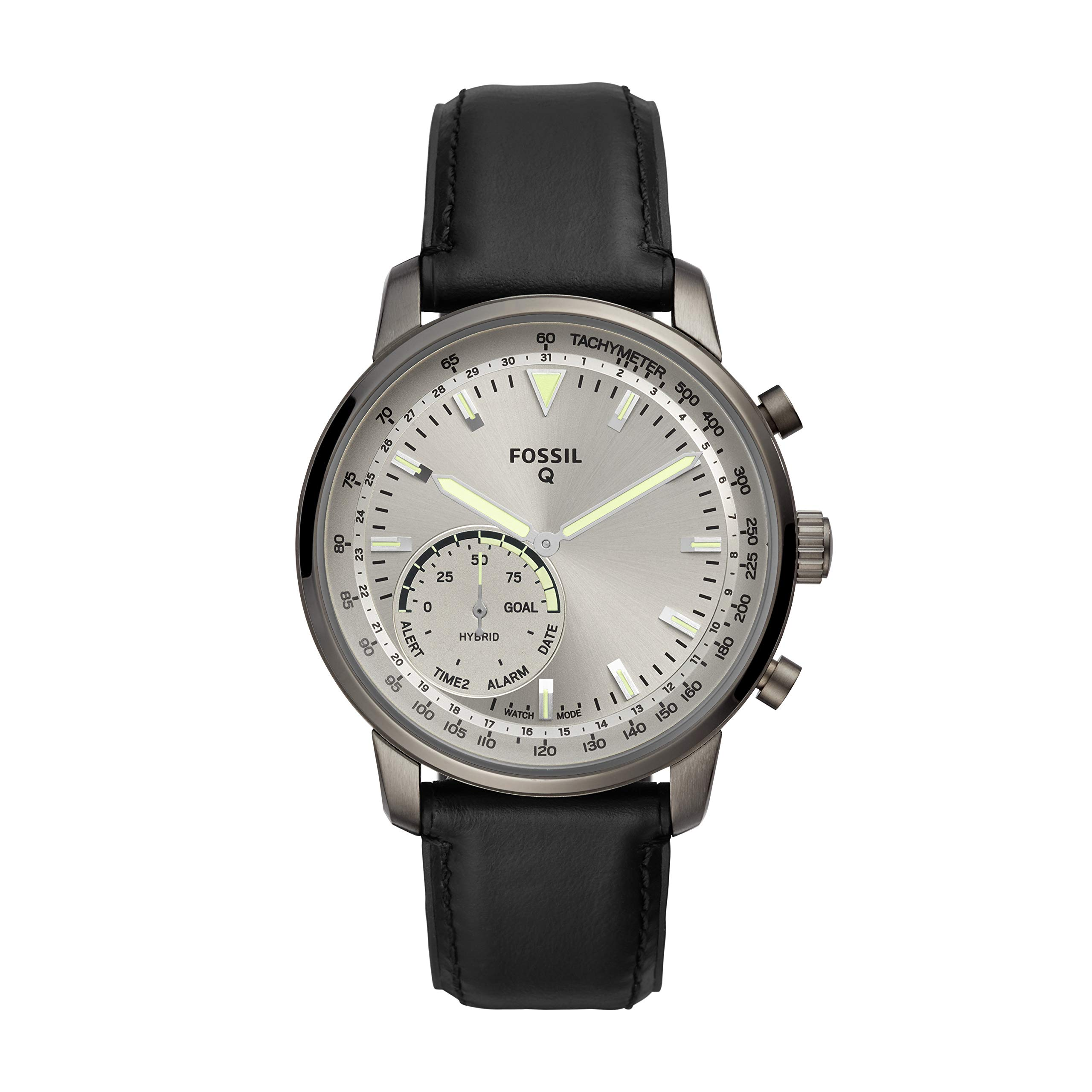 Fossil Men's Hybrid Smartwatch Stainless Steel Watch with Leather Strap, Black, 22 (Model: FTW1171)
