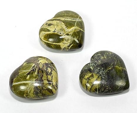 """Par 2 """"piedra verde amarillo Puffy Corazón Pulido De Piel De Serpiente Natural cristal"""