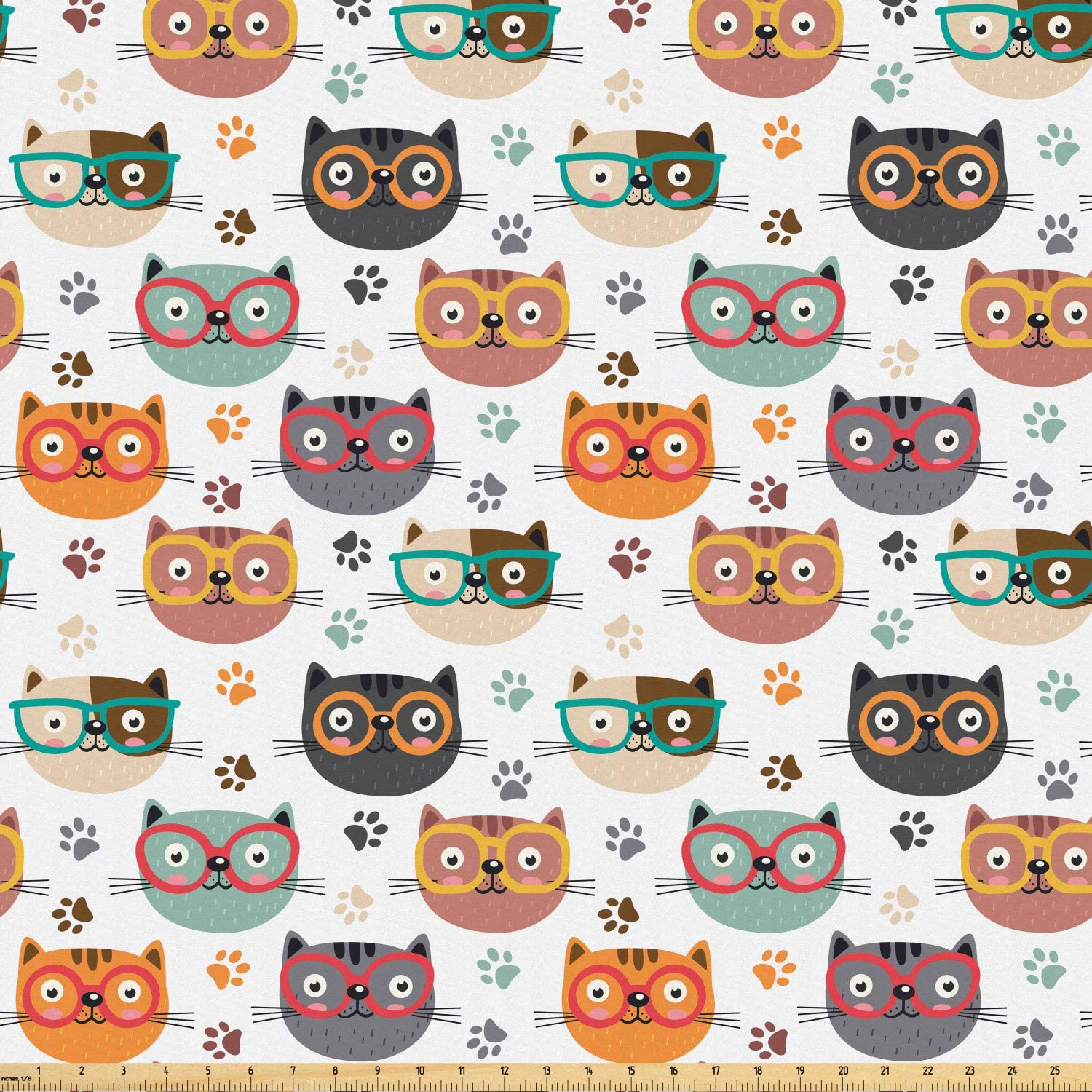 Ambesonne Cats Fabric by The Yard, Pattern with Playful Kitty Faces Wearing Eyeglasses Among Pawprints for Pet Lovers, Microfiber Fabric for Arts and Crafts Textiles & Decor, 1 Yard, Brown White
