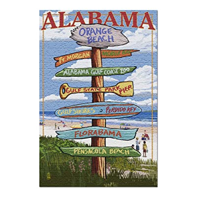 Orange Beach, Alabama - Sign Destinations (Premium 500 Piece Jigsaw Puzzle for Adults, 13x19, Made in USA!): Toys & Games