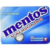 Mentos Kaugummi Peppermint | Zuckerfrei mit Pfefferminz-Geschmack |12 Blister mit je 12 Kaugummi-Dragees