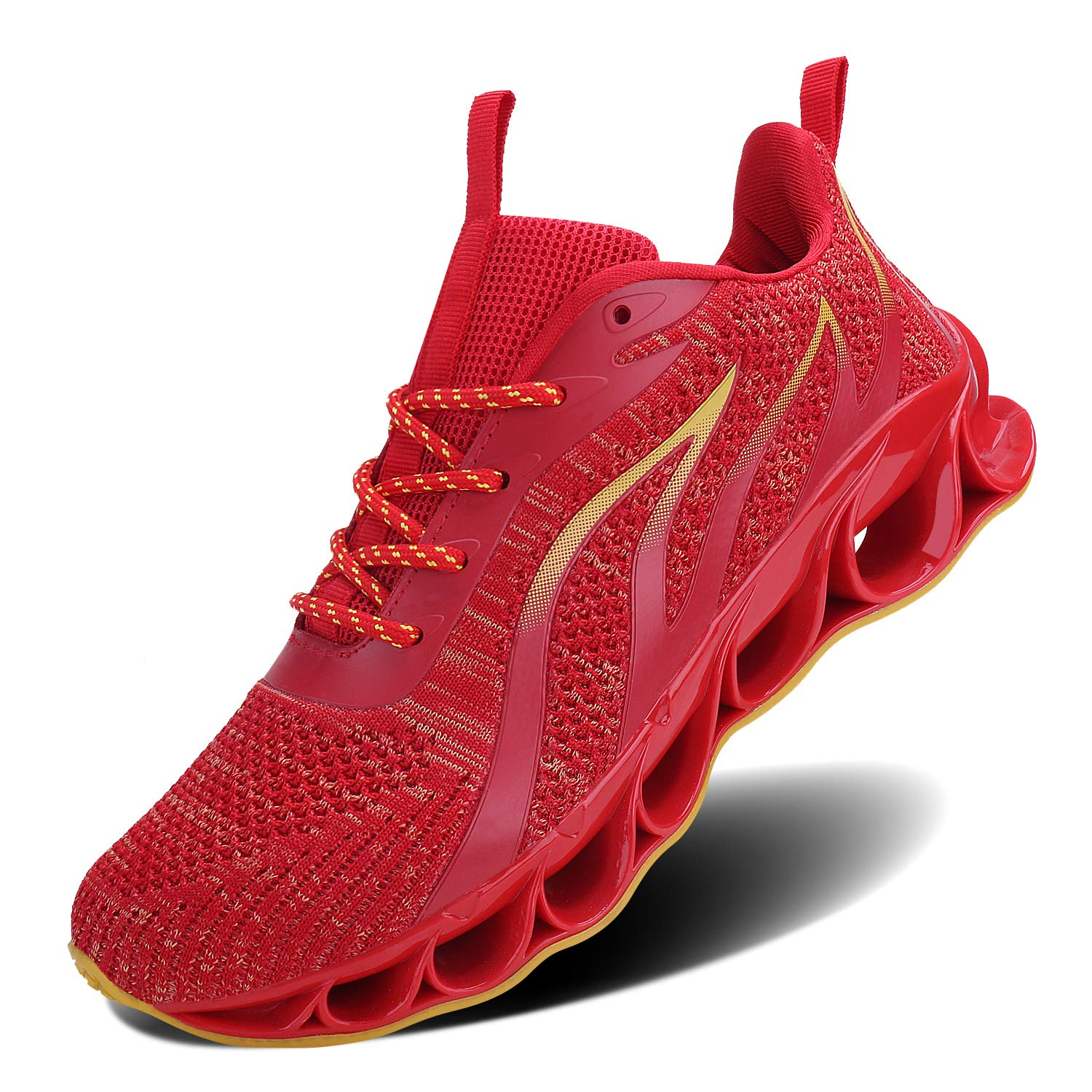 JointlyCreating Mens Casual Mesh Walking Shoes Outdoor Sport Sneakers (8.5, 1-r-Red)