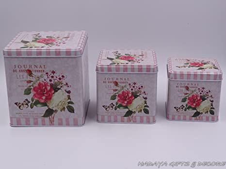 Beautiful Cookie Storage Tins, Shabby Chic, Square Shaped Floral Themed  With Floral Rose Design