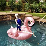 GOOBAT Giant Flamingo Inflatable Pool Float Toy 59-Inch, Swimming Party Lounge Floaty Raft for Kids&Adults, Rose Gold