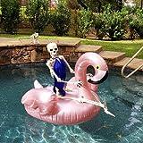 Giant Flamingo Pool Float, GOOBAT Inflatable Swimming Pool Raft Lounge Toy, Rose Gold, 150 x 150 x 90 cm