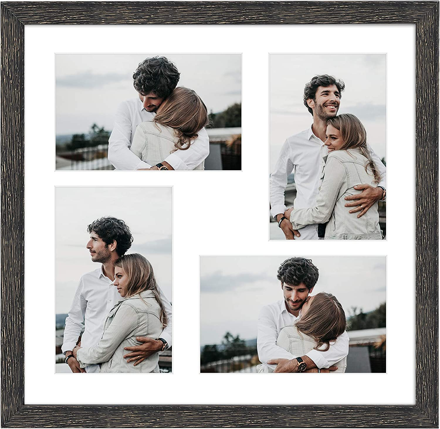 Amazon Com Golden State Art 12x12 Distressed Black Wooden Frame With White Mat Displays Four 4x6 Photos Square Collage Frame Real Glass Sawtooth Hanger Swivel Tabs Wall Mounting Landscape Portrait