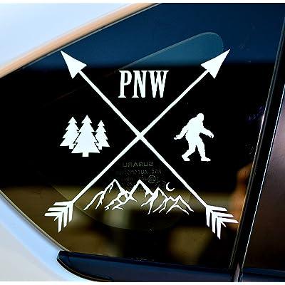 Byzee PNW Bigfoot Decal - White Mountain/Tree Sticker - Car/Laptop Graphic: Clothing