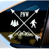 Byzee PNW Bigfoot Decal - White Mountain/Tree Sticker - Car/Laptop Graphic