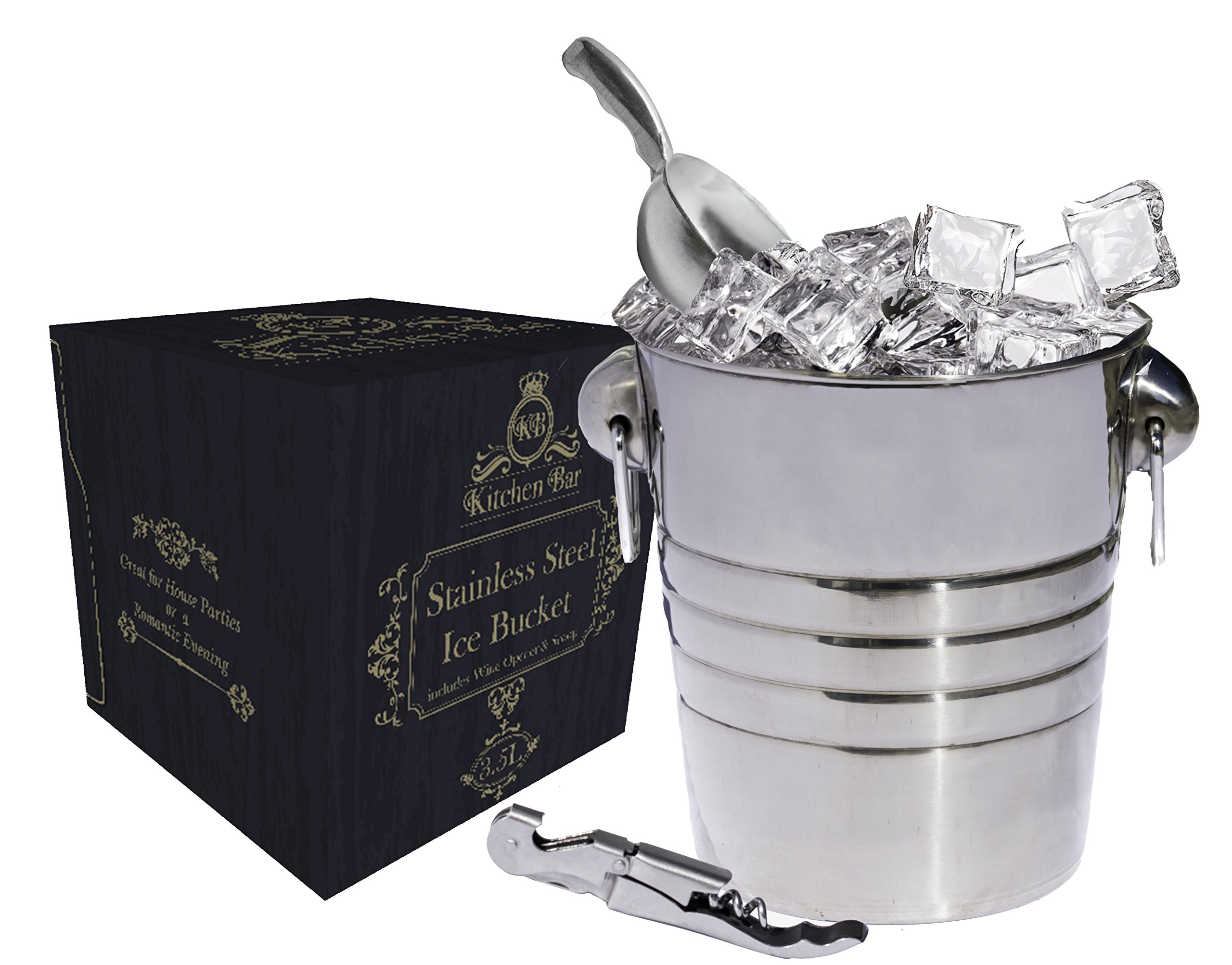 Kitchen Bar Premium Stainless Steel Silver Ice Bucket - 3.5 Liter (4qt) Large Beer, Wine Bucket With Scoop, Fingerprint Off for Party Events Gatherings Gift ServerWare Tray Barware