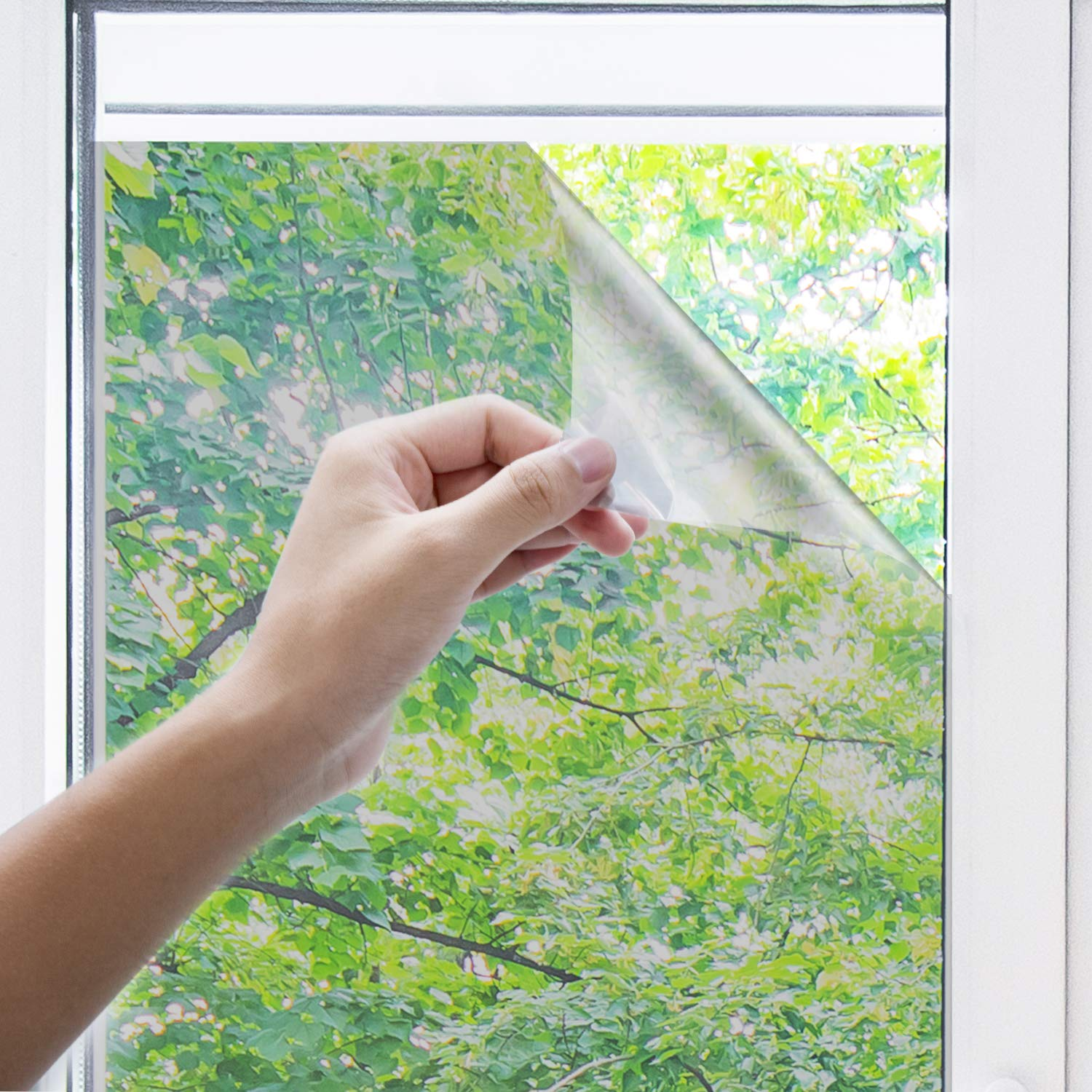 "innoAura One Way Window Film- Anti UV Static Cling Window Film 100% Light Blocking for Privacy Removal Decorate Heat Control Glass Tint Home Office Windows.(23.6"" x 78.7"", Silver)"