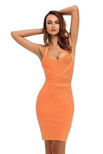 Whoinshop Women's Celebrity Party Contrast Bodycon Pencil Bandage Dress