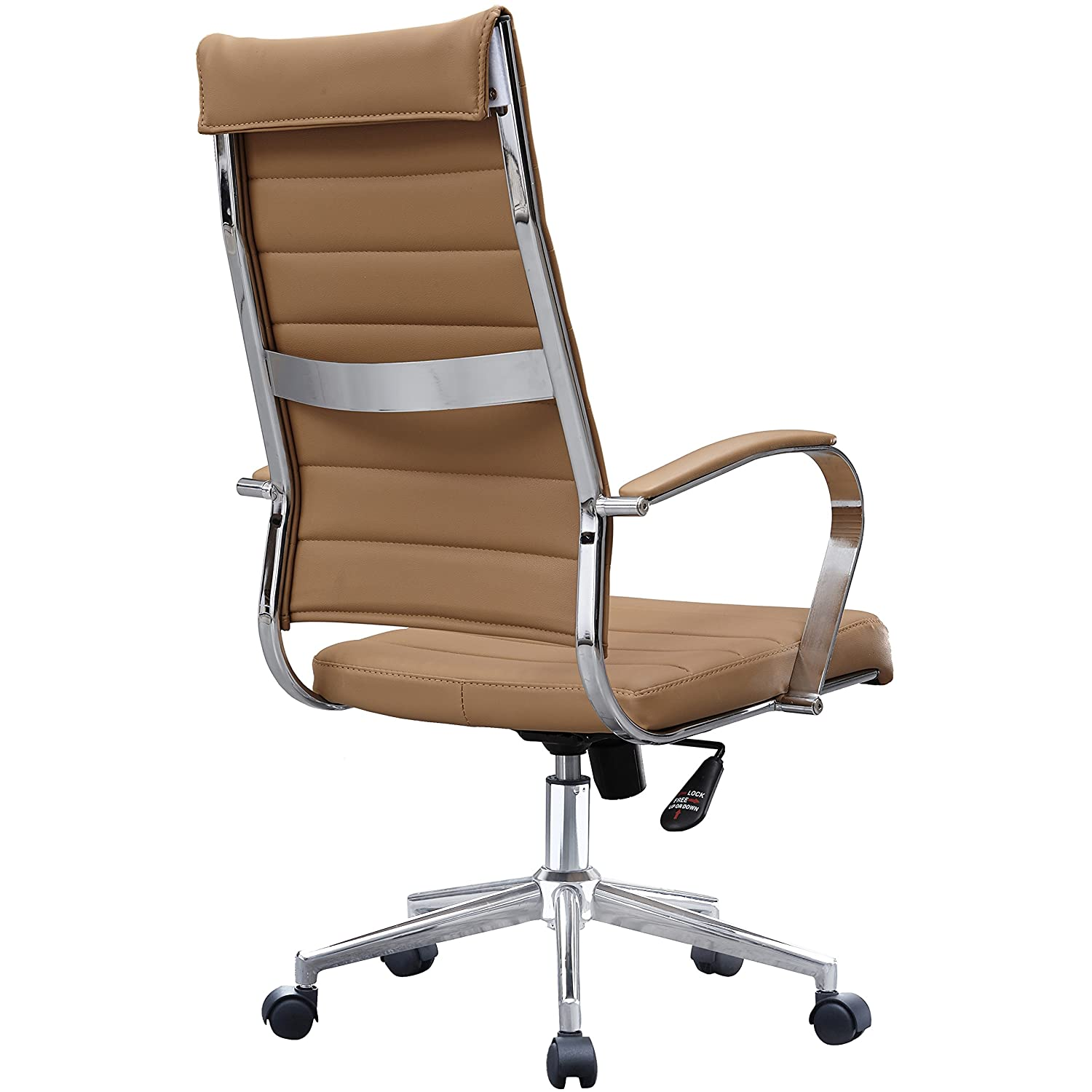 2xhome Brown Modern High Back Tall Ribbed PU Leather Swivel Tilt Adjustable Chair Designer Boss Executive Management Manager Office Conference Room Work Task Computer