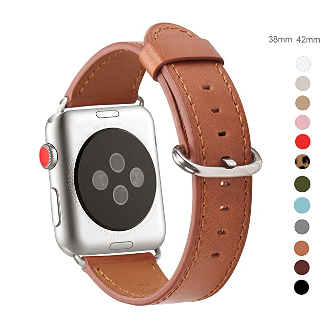 Wfeagl Compatible Apple Watch Band 38mm, Top Grain Leather Band Replacement Strap With Stainless Steel Clasp For I Watch Series 3,Series 2,Series 1,Sport, Edition (38mm Brown + Silver Buckle) by Wfeagl