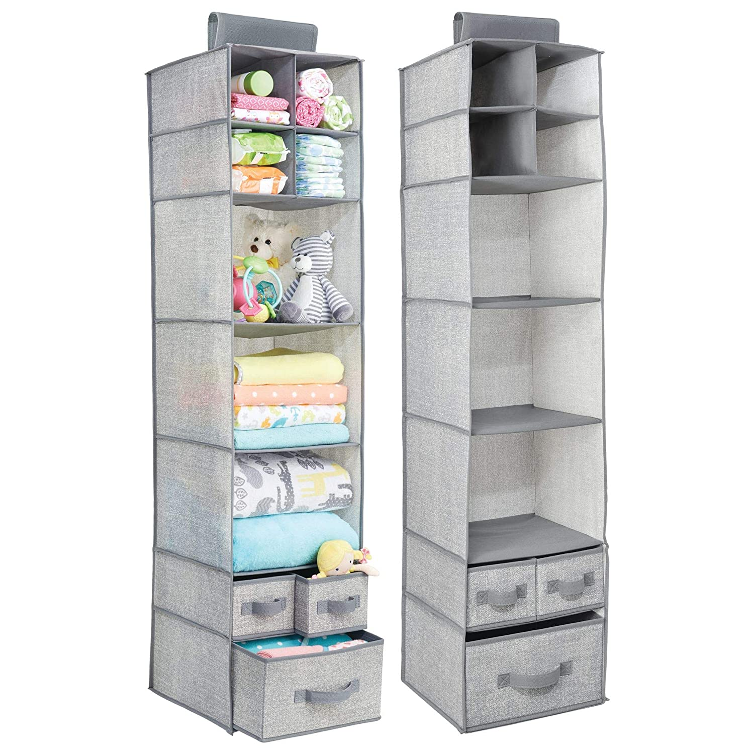 mDesign Soft Fabric Over Closet Rod Hanging Storage Organizer with 7 Shelves and 3 Removable Drawers for Child/Baby Room or Nursery - Textured Print - Gray MetroDecor 1451MDB
