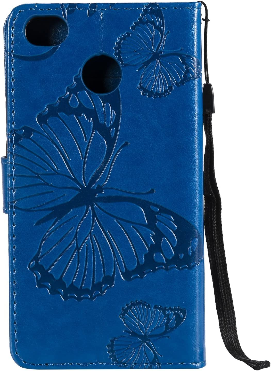 Herbests Compatible with Xiaomi Redmi 4X Wallet case Butterfly Pattern Premium Eelegant Leather Stand Flip Full Body Protective Cases Cover Credit Card Slot Magnetic Closure,Orange