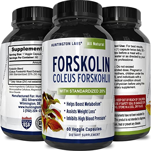 Forskolin Weight Loss Supplement for Fat Burn Natural Diet Pills Metabolism Booster Pure Coleus Forskohlii Extract 250 mg Forskolin 60 Capsules by California Products