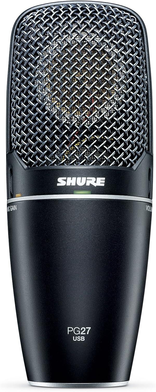 plug and play Shure PG27-USB jack de auriculares. previo integrado con control de ganancia microf/ónica micr/ófono de condensador de captaci/ón lateral reproducci/ón natural monitorizaci/ón de latencia cero