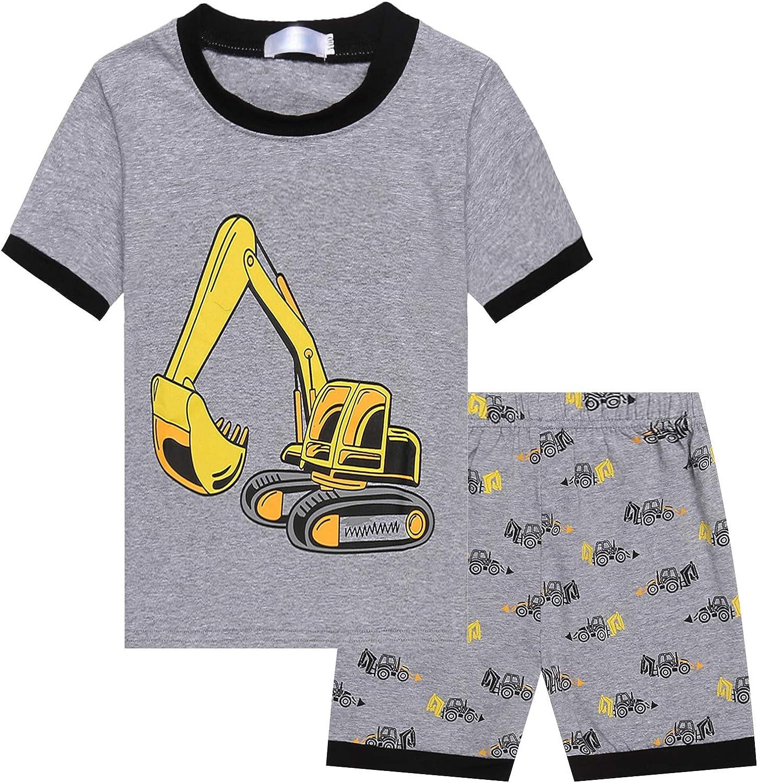 Bricnat Schlafanzug Jungen Langarm Baumwolle Pyjama Kinder Zweiteiliger Nachtw/äsche Set Dinosaurier,Hai Feuerwehrauto,Bulldozer 3-11 Jahre Sternenhimmel