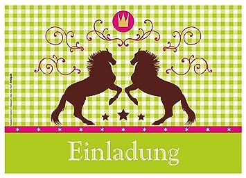 12 Einladungskarten U0026quot;Pferde / Karo / Grünu0026quot; Oktoberfest /  Geburtstagseinladungen Einladungen Kindergeburtstag Jungen
