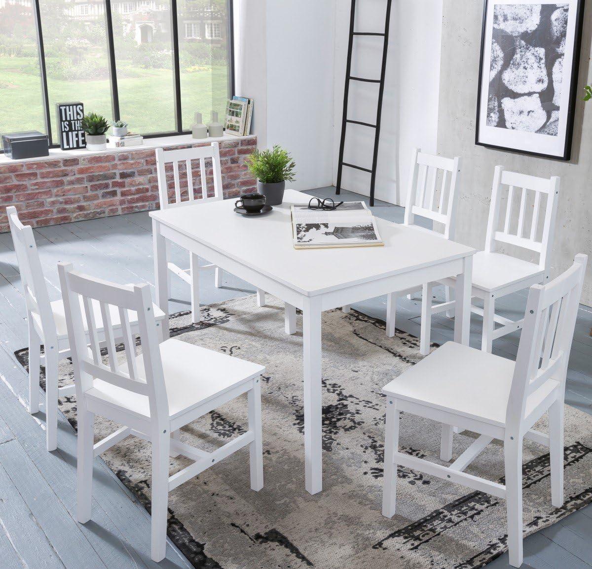 juego de comedor EMIL 7 piezas de madera de pino 120x73x70cm estilo rústico blanco | Naturaleza mesa de comedor de 6 sillas 1 mesa | grupo de la tabla Esstischset 6 personas |