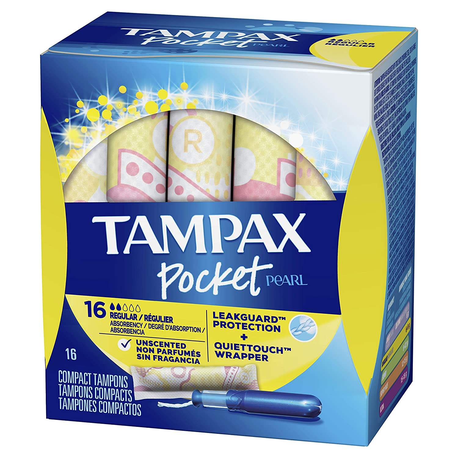 Tampax Pocket Pearl Tampons Regular Absorbency with LeakGuard Braid, Unscented, 16 Count