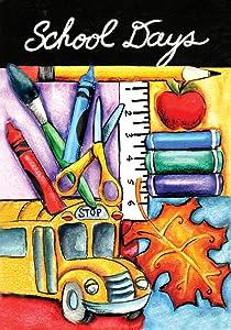 Toland Home Garden Welcome Back 12.5 x 18 Inch Decorative School Days Bus Pencil Crayon Supplies Garden Flag