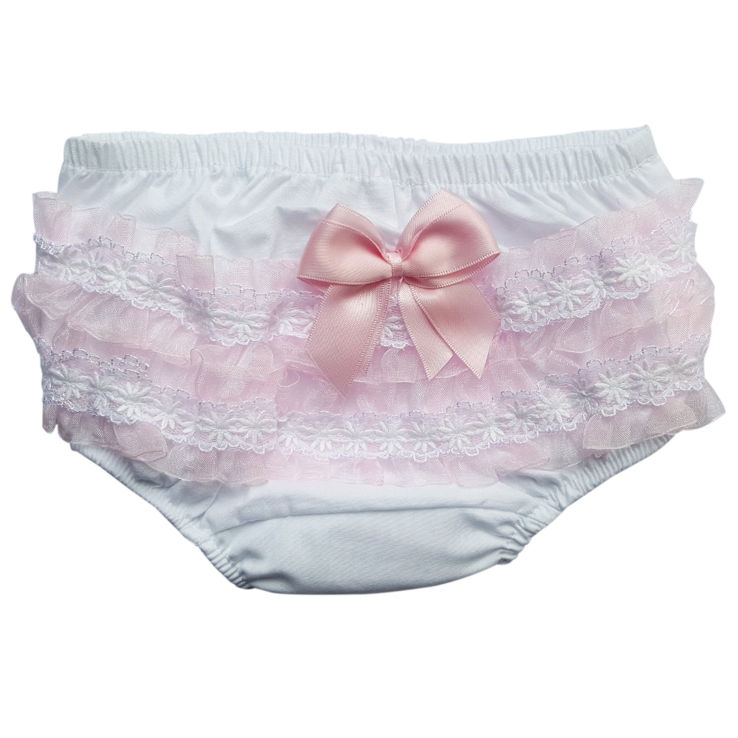 Soft Touch Baby Cotton Frilly Napper Cover in White 0-18 Months Frilly Back Knickers 6-12 Months)